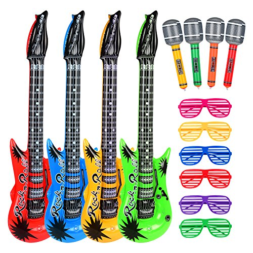 Uk Kinder Star Kostüme (Hicarer Rock Star Spielzeug Set Enthält 4 Aufblasbare Gitarre 4 Aufblasbare Mikrofon und 6 Shutter Shade Atzenbrille für Weihnachten)
