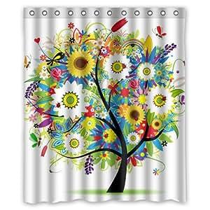 Design élégant de Rideau Imprimé Motif plantes Vert sapin animaux image personnalisée Papillon Rideau de douche 60 cm 2 x 183 cm