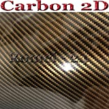 Romel24 [15,77€/m²] 50CM X 152CM Folie Selbstklebend Hochglanz Luftkanäle CABON 2D Schwarz Gold