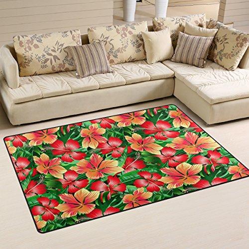 COOSUN Tropical Orange und Rot Hibiskus Blumen Bereich Teppich Teppich Rutschfeste Fußmatte Fußmatten für Wohnzimmer Schlafzimmer 78,7x 50,8cm, Textil, Multi, 60 x 39 inch (Hibiskus Fußmatten)