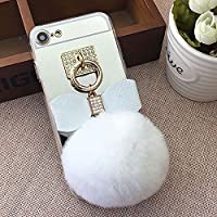 Mirror Case for iPhone 7 Plus/8 Plus 5.5 inch.Girlyard Crystal Soft TPU Rubber Bumper +Bling Diamond Glitter Cute Hairy Hairball 3D Fluff Bowknot Keychain PC Makeup Mirror Back Cover with Finger Ring Holder-White