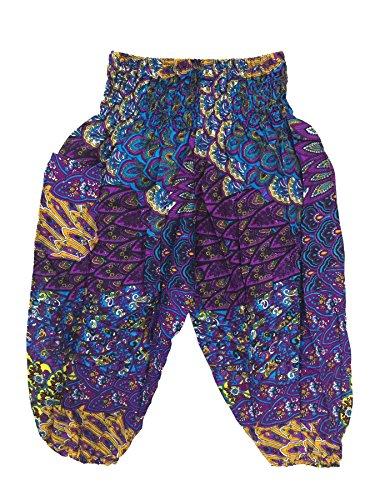 Lofbaz Bebé Pantalones Harem pavo real de las niña Boho Hippy Morado Talla 0-3M