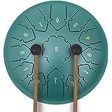 Tongue Drum, Instrumento de percusión de 12 Pulgadas Tambor panorámico 13 Notas Tambor de Tanque con Bolsa de Tambor Acolchad