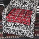 Homescapes extrahohes Sitzkissen orthopädisch mit Tragegriff Sitzerhöhung Aufstehhilfe ca. 50 x 50 x 10 cm, Bezug aus Baumwoll Samt, 100% Polyester Füllung, Schottenmuster Edward Tartan rot grün kariert