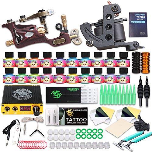 DiaoLan Tattoo Kit 2 Pro Tattoo Machines Rotary Gun Tattoo Power Supply Inks Needles (Rotary Tattoo Gun Power Supply)