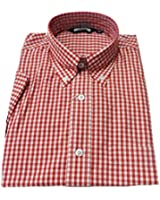 RETRO Gingham Classic Vintage Mod Button Down Short Sleeve Shirts in 4 Colours