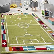 Alfombra Infantil Con Diseño De Campo De Fútbol De Velour Corto Blanca Y Verde, tamaño:120x170 cm