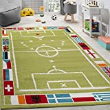 Paco Home Kinderteppich Fußball Design Kurzflor Fußballfeld Spielteppich Weiß Grün