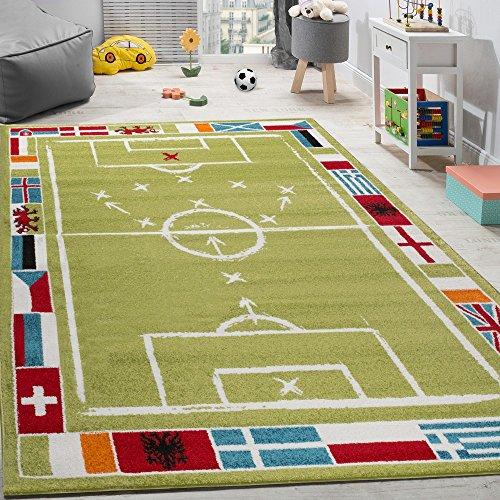 Kinderteppich Fußball Design Kurzflor Fußballfeld Spielteppich Weiß Grün, Grösse:160x220 cm