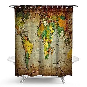 """kisy antiguo mapa del mundo impermeable cortina de ducha de baño Vintage mapa del mundo baño cortina de ducha tamaño estándar 70""""x 70"""" Multi"""