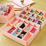 ASkyl Plastic 2pcs Compartment Undergarment Innerwear Bra Tie Socks Jewellery Cosmetic Drawer Organizer Partition Box Storage Boxes (Multicolor)