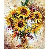Abstrakt Sonnenblume Vase DIY Malen nach Zahlen Ölgemälde Wandschmuck gerahmt