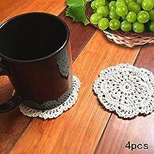 """Ambielly Piccolo Crochet rotonda pizzo di cotone Tovagliette sottobicchieri centrini per la Coppa / vetro, 4pcs / Pack (10cm / 3.9 """", beige)"""