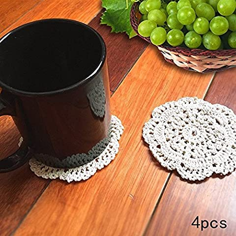 """Ambielly Small Handmade Crochet Round Cotton Lace Table Placemats Coasters Doilies for Cup/Glass,4pcs/Pack (10cm/3.9"""", Beige)"""