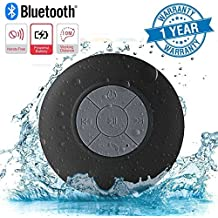 Twogood Water Resistant Bluetooth 3.0 Shower Speaker With Handsfree Speakerphone & Built-in Mic, Control Buttons and Dedicated Suction Cup