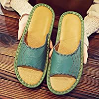 fankou Slippers Couples Home Slippers Women Indoor Summer Non-Slip Summer Home Cool Slippers Male Summer Sandals,35-36, Green