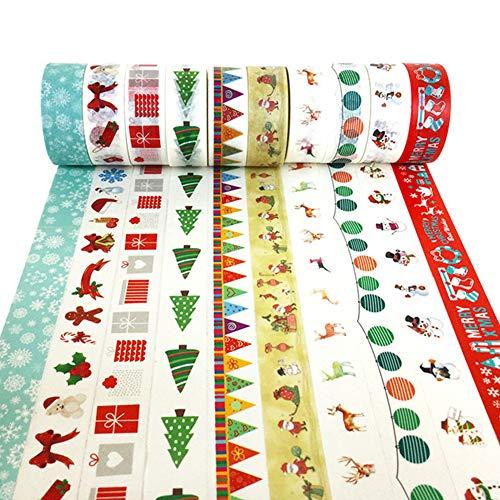 htspapierband-Set, Merry Christmas Serie Maskierung Werk Geschenk Verpackung Geschenk-Band Kunst Verpackung Weihnachtsfestdekorationen Weihnachtsfeier Lieferungen ()