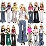 Miunana Bambola Barbie Dolls Abiti Vestiti Scarpe Accessori Alla Moda (10 Abiti Pantaloni)