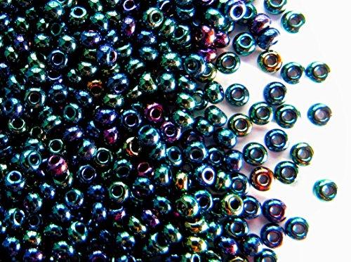 20gr (ca. 840 stk) Tschechische Glas Rocailles Preciosa, Größe 8/0 (2,8mm - 3,2mm), Rundloch, Farbe: Opaque Blue Iris - Iris Glas
