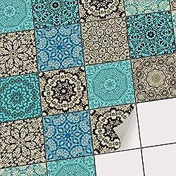 creatisto Fliesenaufkleber Fliesenfolie Fliesensticker   Fliesen überkleben Sticker Aufkleber Folie selbstklebend Bad renovieren Küche Dekoration Bad   20x20 cm - Motiv Marrokanisch - 40 Stück