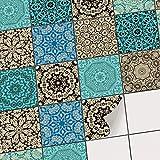 Fliesen Deko Fliesenaufkleber für Küche u. Bad | Fliesenfolie Fliesensticker Klebefliesen Mosaikfliesen Dekorfolie | 10x10 cm - Motiv Marokkanisch - 72 Stück
