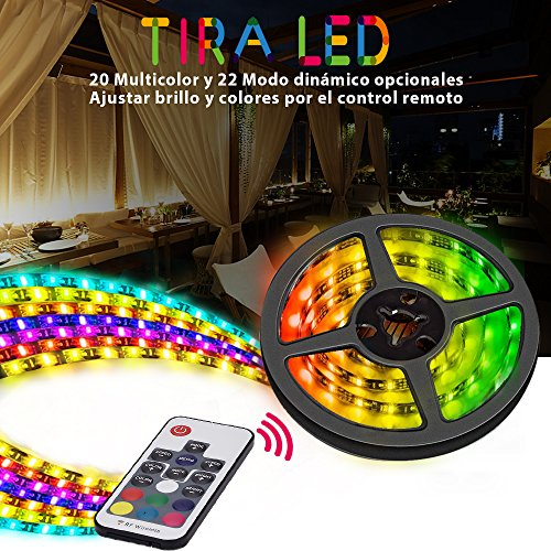 Tiras LED RGB Vorstek Led Luces Impermeable Multicolor 5050 SMD Led Strip Kit 2M con Mando a Distancia, Decorativas LED Franja de Fiesta, Exposición de la Demostración, 12V Led Tira USB Para HDTV, Oficina, Piscina, Espejo, Computadora, Exterior etc