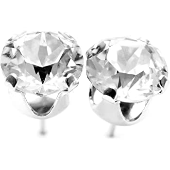 8a381266b pewterhooter 925 Sterling silver stud earrings made with Diamond White  crystals from SWAROVSKI®. London gift box.