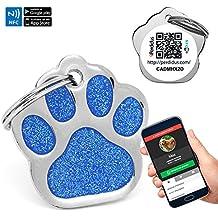 Chapa Placa Identificativa para Perros Huella Brillante con tecnología NFC Contactless y QR gestionable vía APP | (Azul)
