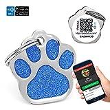 Chapa Placa Identificativa para Perros Huella Brillante con tecnología NFC Contactless y QR...