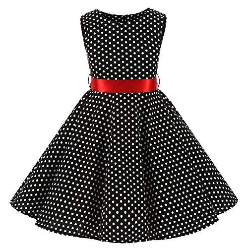 YFCH Kinder Mädchen 1950er Vintage Print Abendkleid Rockabilly Kleid Retro Cocktailkleid Faltenrock Knielang, Weiß Rundpunkt auf Schwarz mit Rot Gürtel, 134/140(Label: L/140) (Schwarz Weiß-mädchen-kleider Und)