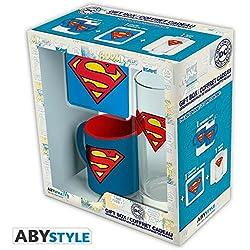 Set regalo Superman, logo. Taza, vaso y posavasos. DC Comics