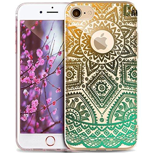 Cover iPhone 7 Plus,Custodia iPhone 7 Plus,ikasus® Crystal Clear TPU con Indische Sonne Mandala del fiore per iPhone 7 Plus Custodia Cover [Crystal TPU] [Shock-Absorption] Protettiva Trasparente Ultra Mandala del fiore #15