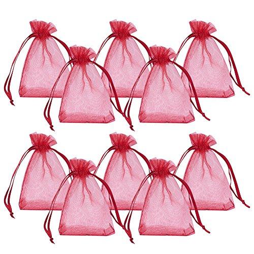 PandaHall Elite 100pcs Sacchetti Organza Sacchetti Regalo Sacchetti Portaconfetti Bustine per Confezione Borse per Gioielli Fiesta Matrimonio bomboniere, Rosso Scuro, 7x5cm