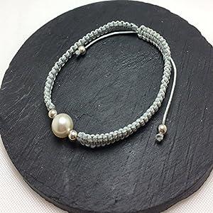 Fine Arts by Eva Neff-El Raddaf Armband aus gewachster Baumwolle mit Swarovski Perle und 925/000 Silber Kugeln