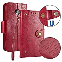 Galaxy S6 Edge Case, Dfly Premium Retro PU Leather Page Style Case Built-in 5 Card Slots Classical Magnetic Snap Closure Kickstand Function for Samsung Galaxy S6 Edge Case Slim Flip Wallet Cover, Red