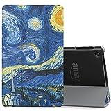 MoKo Hülle für All-New Amazon Fire HD 8 Tablet (7th & 8th Generation – 2017 & 2018 Modell) - Ultra Slim Lightweight Smart Cover mit Durchschaubar Rückseite Schutzhülle, Sterne Nacht