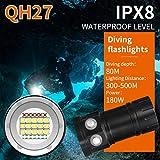 Gusspower Tauchen Taschenlampe, 80m Professional LED Tauchen Taschenlampe Fotografie Licht Unterwasser IPX8 Wasserdichte Taschenlampe Lampe 15 5050 Weiß XML2, 4 XPE Rot R5, 4 XPE Blau R5
