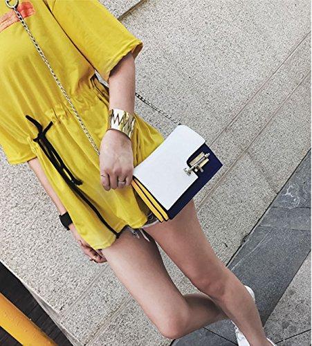 Frauen PU-Leder Persönlichkeit Lock Schlägt Die Farbe Einzelne Schulter-Umhängetasche Tasche. White