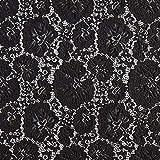 Fabulous Fabrics Stretch Spitze Rosen – schwarz — Meterware ab 0,5m — zum Nähen von Abend- und Partymode