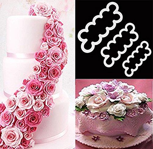 DIKETE® 3pcs Roses Forma di stampa del modello della muffa della decorazione della torta Tool Set, fai da te One-Step Modeling fondente taglierina della muffa per la festa di Natale di nozze dessert Decoratori Zucchero