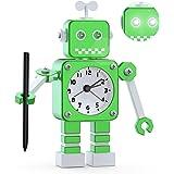Réveil Robot,Réveil analogique,Réveil Silencieux en Métal Inoxydable avec Yeux Lumineux Clignotants et Bras Rotatif, Cadeau p