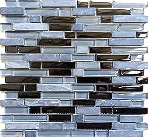 Carrelage mosaïque en verre et pierre. Noir Gris Bleu. Motif brique. Les feuilles entières de carreaux mesurent 30cm x 30cm (MT0019)