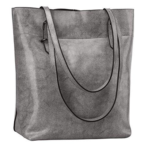 S-ZONE Damen Echtleder Tasche Handtasche Henkeltasche (Grau) (Tasche Leder Grau)