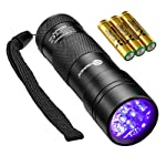 TaoTronics Black Light, UV Blacklight Flashlights, 12 LEDs 395nm, 3 AAA Batteries, for Pets Urine and Stains Detector