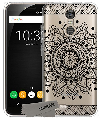 Für OUKITEL C8 Hülle Silikon,Sunrive Transparent Handyhülle Schutzhülle Etui Case Backcover für OUKITEL C8(tpu Blume Schwarze)+Gratis Universal Eingabestift