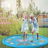 Splash Pad,JSxhisxnuid150 cm Wasser-Spielmatte Wasserbefülltes Baby-Spielzeug Sprinkler und Splash Play Matte Interessant-Blume Pad,Sommer Garten Wasserspielzeug für Baby, Kinder, Haustiere (AS Show)