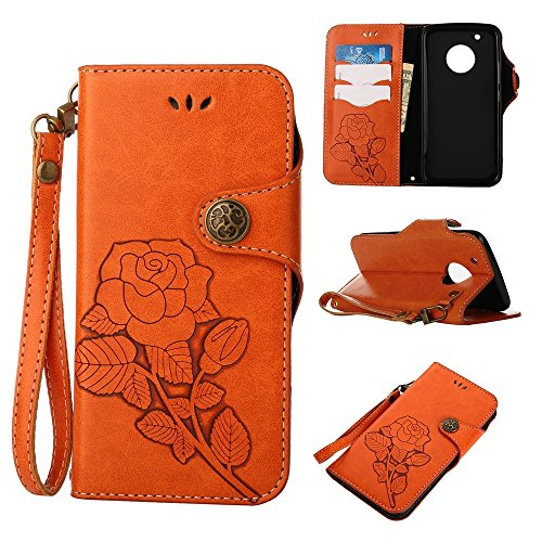 YHUISEN Moto G5 Plus Case, Luxus Retro Rose Premium PU Leder Magnetverschluss Flip Wallet Schutzhülle mit Lanyard für Motorola Moto G5 Plus (2017) ( Color : Khaki ) Orange
