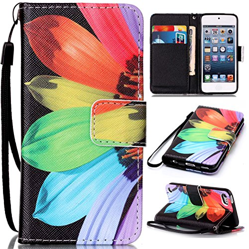 Price comparison product image For Apple iPod Touch 5 / 6 Leather Flip Case Cover, Ecoway Colorful Painted PU Leather Stand Function Protective Cases Covers with Card Slot Holder Wallet Book Design, Soft TPU Silicone Inner Bumper Full Protection Detachable Hand Strap for Apple iPod Touch 5 / 6 - sunflower