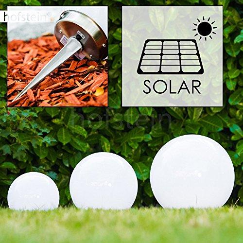 Solar Kugelleuchten Nassau Set 15 cm, 20 cm und 25 cm aus weißem Kunststoff, LED Aussenleuchte mit Ein- und Ausschalter Solarlampe mit integriertem Dämmerungsschalter