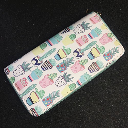 MayeBridge portafoglio Donna Cute Unicorno Borsa Del Portafoglio Della Moneta -M260 (Bianco) Cactus